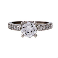 Peter Suchy GIA Certified Diamond Engagement Ring 1.04ct Platinum Groove Set