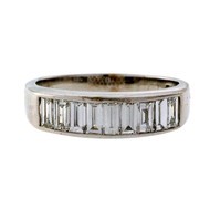 Channel Set 9 Diamond Emerald Cut 18k White Gold .93ct Diamond Wedding Band Ring