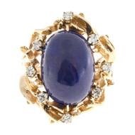 Vintage 1950 Natural Certified Violet Blue Lapis Diamond 14k Gold Ring