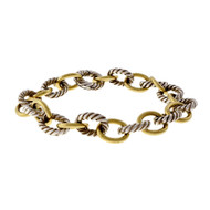 Estate David Yurman Oval Link Bracelet With 18k Yellow Gold Silver