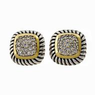 Estate David Yurman Cushion Albion Cable Silver 18k Gold Diamond Earrings