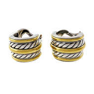 Estate David Yurman White Bamboo Earrings Silver & 18k Gold
