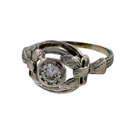 Vintage 1940 Open Pierced Top Dome Ring 14k White Gold .30ct Diamond