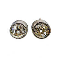 Antique Old Mine Cut 1.72ct Platinum Diamond Certified Bezel Set Stud Earrings