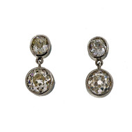 Antique 1900 1.95ct Total Old Mine Cut Diamond Dangle Earrings Bezel Set