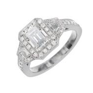 Antique Art Deco Asscher Like Emerald Step Cut Diamond Engagement Ring Platinum