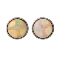 Estate Fine 6.5mm Round 14k White Gold Bezel Set Opal Earrings Red Blue Flash