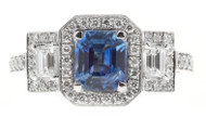 Peter Suchy 1.53ct Sapphire Platinum Triple Halo Diamond Engagement Ring