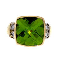 Estate 6.62ct Cushion Bright Green Peridot Diamond 14k Yellow Gold Ring