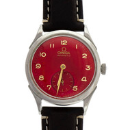 1960 Omega Automatic Classic Steel Strap Watch Custom Colored Bright Red Dial