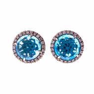 Christophe Danhier Designer 18k White Gold Blue Topaz Diamond Stud Earrings