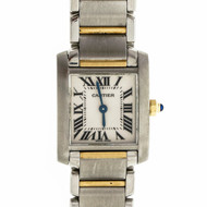 Ladies 20mm Cartier Tank Francaise Steel 18k 2 Tone Wrist Watch