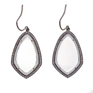 Designer JMP 15.00ct Quartz 1.00ct Diamond Dangle White Gold Earrings