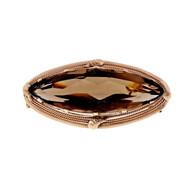 Vintage 1940 Retro 14k Pink Gold Marquise 30.00ct Smoky Quartz Pin Pendant