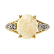 Estate 18k Yellow Gold Ring With 1.50ct Opal And Diamonds