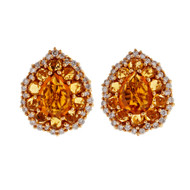 Estate Crivelli 18k Pink Gold Orange Yellow Citrine Diamond Earrings
