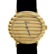 Ladies Vintage 1960 Piaget Ribbed Wrist Watch Solid 18k Gold 18k Buckle