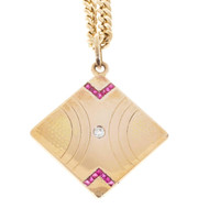 Estate 14k Pink Gold Old Mine Cut Diamond, Ruby Necklace & 17 Inch Chain
