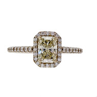 Peter Suchy Engagement Ring Radiant Cut .85ct 14k White Gold Halo Ring