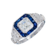 Estate Asscher 1.06ct Diamond Art Deco Ring 1930 Calibre Sapphire Platinum Halo