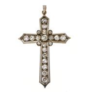 Antique 1875 Platinum 18k 2.85ct Old Mine Brilliant Cut Diamond Cross Pendant