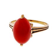 Antique 1890 14k Rose Gold Natural Red Coral Ring