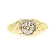 Men's Antique 1880's Old Mine Brilliant Cut Diamond 0.81ct Diamond Ring
