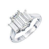 Peter Suchy Engagement Ring 1.74ct Emerald Cut 3 Stone Engagement Ring Platinum