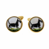 Vintage 1940 Scottie Dog Quartz Crystal Hand Painted Reversed Carved Cuff Links