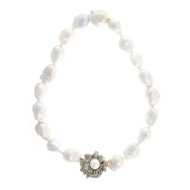 Peter Suchy Rare Large Baroque Chinese Cultured Pearl Necklace Diamond Clasp