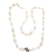 Peter Suchy Baroque Chinese Freshwater Pearl 14k White Gold Diamond Necklace