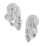 Diamond Platinum Swirl Earrings c1945