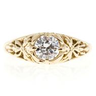 Estate Filigree 14k Yellow Gold Diamond Transitional Cut .43ct Engagement Ring