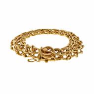 Vintage 1950 Double Spiral Links Charm Link 14k Yellow Gold Bracelet
