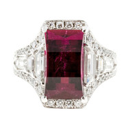 Art Deco 1935 Rubellite Red Tourmaline 3.89ct Solid Platinum Ring Custom Cut