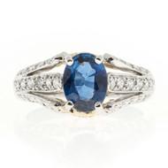 Rare Richard Krementz 1.28ct Fine Oval Sapphire Platinum Diamond Ring