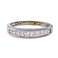 Estate .50ct Princess Cut Diamond 14k White Gold Diamond Wedding Band Ring