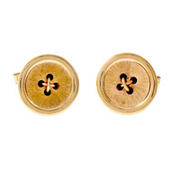 Estate 1950 Button Style Solid 14k Yellow Gold Cuff Links