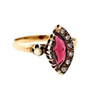Victorian Vintage 1860 Garnet Rose Cut Diamond Pearl 14k Yellow Gold Ring