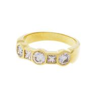 Round Princess Cut Bezel Set Diamond Wedding Band Ring 18k Yellow Gold