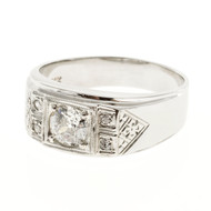 Men's Retro Diamond Ring 14k White Gold With Hand Engraving & Diamond Accents