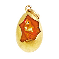 Estate Enamel Chicken In Egg Cut Out 18k 14k  Yellow Gold Pendant Charm