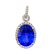 "Designer ""ED"" Tanzanite Diamond Oval 18k White Gold Pendant"
