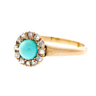 Antique Victorian Persian Turquoise Ring Rose Cut Diamonds 10k Pink Gold