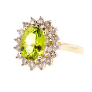 Estate Oval Peridot Cluster Ring 14k Yellow Gold Diamond
