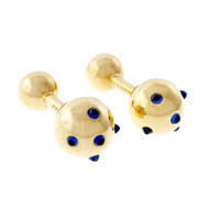 Cartier Vintage 1960 Cuff Links Cabochon Sapphire 14k Yellow Gold
