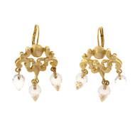 Robin Rotenier Quartz Briolette Dangle Chandelier Earrings 18k Yellow Gold