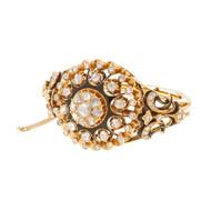 Antique Victorian Bangle Bracelet Rose Cut Diamonds 14k Pink Gold