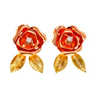 Vintage 1940 Retro Flower Diamond Earrings Pink & Green 14k Gold