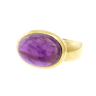 Estate Cabochon Amethyst Ring Across The Finger 18k Yellow Gold